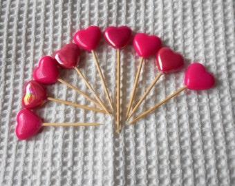 9 Pink Hearts  Mini Cake toppers Princess Wedding Engagemnet anniversary Birthday Disney