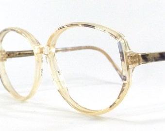 vintage 80's used oval eyeglasses frames plastic oversize retro eye glasses eyewear optical translucent purple opal foil safilo italy old 98