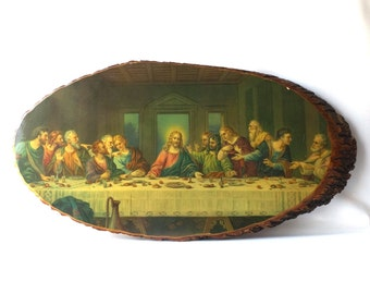 vintage 70's the last supper wall hanging large xl 30x16 jesus religious slice pine wood decoupage mid century retro decorative home decor