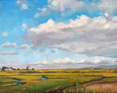Large Oil Painting on canvas - Salt Marsh Clouds 18x24 - Large Landscape Painting by Sharon Schock