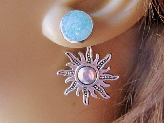Sun Earrings Sun Stud Earrings Sun Reverse Earrings Back Front Earrings Robins Egg Blue Studs Stained Glass Studs Light Blue Earrings Studs