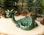 Aramara - The Enchanted Dragon Guardians of Soals Woods -Polymer Clay Handcrafted Dragon Sculpture - Golden Wings - Purple Faceted Eyes