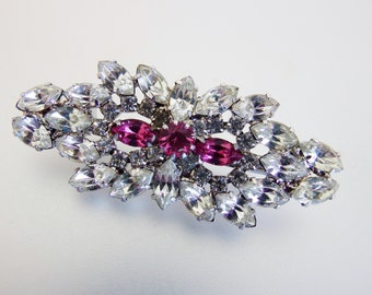 Bright Vintage Clear & Pink Rhinestone Brooch
