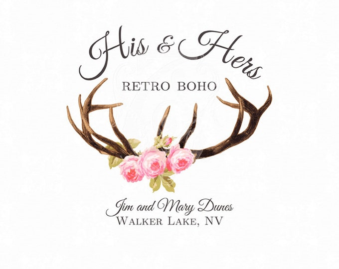 Premade Logo Boho  Antlers and Roses