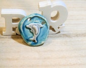 ceramic pendant dolphin romantic -  poppy in the sky hig fired jewel - turquoise blue and grey - one of a kind bead