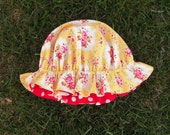 LAST ONE Reversible Little Miss Muffet Hat, Yellow Kayla/Minnie Red Polka Dot, 2-8 Years Ready to Ship, Toddler Big Girl Ready to Ship