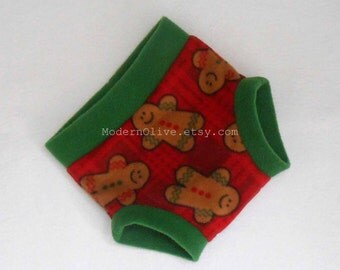 Large Fleece Soaker Diaper Underpant Cover/Soaker, Red Green Burgandy Plaid Gingerbread Men, Ready to Ship Vegan Christmas Holiday
