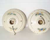 Reserved for Sharon*****SALE ** Porcelier Antique Ceiling Light Fixtures Ivory porcelain with Floral Design Very Good Condition Very Pretty