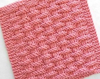 Knit Dishcloth, Cotton Washcloth, Pink Kitchen Decor, Basketweave Dishcloth, Strawberry Pink Cotton Dishcloth