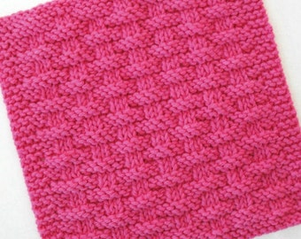 Knit Dishcloth, Cotton Washcloth, Knitted Dishcloth, Knit Washcloth, Hot Pink Basketweave Dishcloth