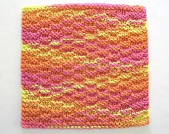 Knit Dishcloth Cotton Dishcloth Knitted Washcloth Pink Orange Yellow Kitchen Decor