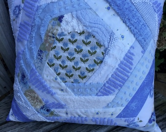 Blue White Vintage Chenille Patchwork Pillow Handmade Doodaba Nursery Lake Patio