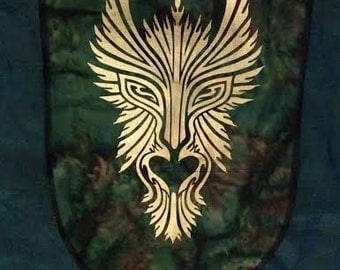 GreenMan Personal Sized Banner Screen Printed in Gold onto Green Marbled Bali Cotton