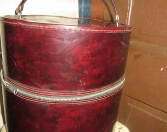 60s   Retro Wig Case - Round   Patent   Zip Luggage - Tall Hat Box Travel Case Wig Carrying Case -  Mid Century Modern - Storage