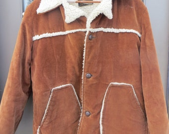 1970's Cal Craft Mens rancher Western Style Corduroy Car Coat Jacket  MENS LARGE SIZE