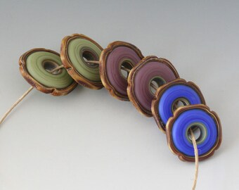 Rustic Artisan Pairs - (6) Handmade Lampwork Beads -  Lavender, Green, Blue