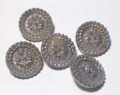 Sparkling Silver Gray Beautiful Buttons 18mm Vintage Glass Shank Buttons Set 6