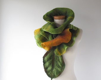 Hand Felted  Ruffle scarf, Green felt  collar, Wool Mustard  fall  leaf gift under 75