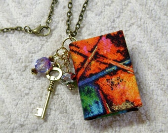 Book Necklace - Book Jewelry - Book Pendant - Book Journal - Handmade Book - Orange Abstract Fabric - BN-3