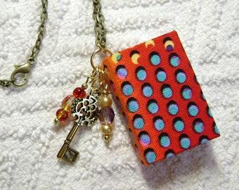 Librarian - Handmade Book Necklace - Book Jewelry - Book Pendant - Book Journal - Handmade Book - Abstract Dots Fabric - BN-125
