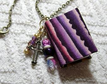 Librarian - Handmade Book Necklace - Book Jewelry - Book Pendant - Book Journal - Handmade Book - Purple Stripes Fabric - BN-141