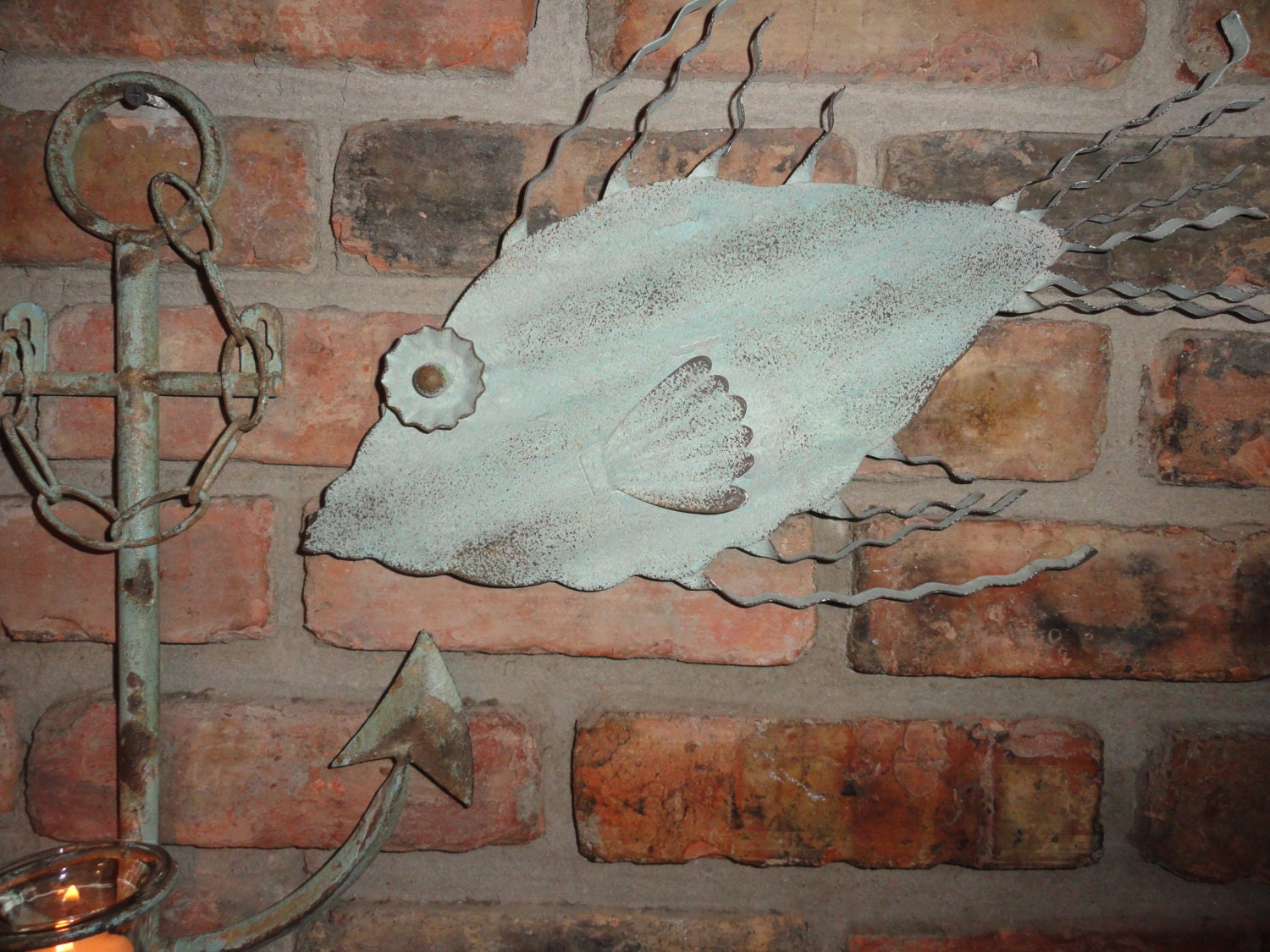 Rustic turquoise metal fish wall decor nautical decor shabby for Metal fish art wall decor