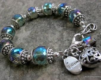 Sparkling iridescent crystal charm Bracelet