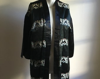 50s 60s Vintage Black Silk Jacket • Open Jacket • Chinese Silk • Free Size