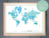 PRINTABLE Art: World Map ART PRINT (Colonial Revival, Pale Turquoise, Sky Blue) 16x20 inches  - (other sizes and colors available)