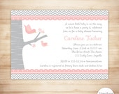 Bird Baby Shower Invitation - Girl Baby Shower - Pink Gray Mommy & Baby Bird Shower Invite - EDITABLE - INSTANT DOWNLOAD