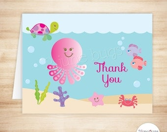 Pink Under the Sea Thank You Card Template - Sea Creatures Folded Note Card - Under the Sea Baby Girl Shower - PRINTABLE INSTANT DOWNLOAD