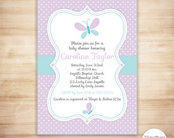 Butterfly Baby Shower Invitation - Baby Girl Spring Shower - Purple and Blue Baby Shower Invite - EDiTABLE PDF - INSTANT DOWNLOAD