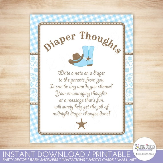 Cowboy Diaper Thoughts Game