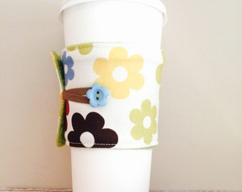 Coffee Cup Cozy, Coffee Cup Sleeve, Cup Cozy, Cup Sleeve, Reusable Coffee Sleeve - Big Daisy [11]