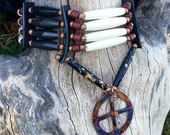 Medicine Wheel bone hair pipe choker, copper, flame painted black buffalo horn, 4 row choker, native american style, tribal style, pow wow,