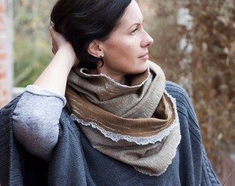 Camel brown infinity scarf from merino wool and cotton for women or man