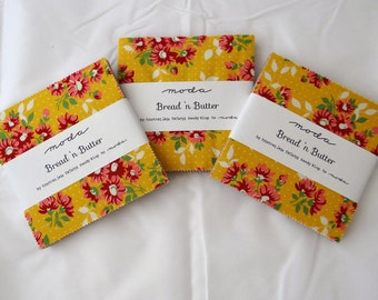 Bread n Butter (3) charm packs Moda American Jane quilt fabric squares retro modern calico daisy 30s style