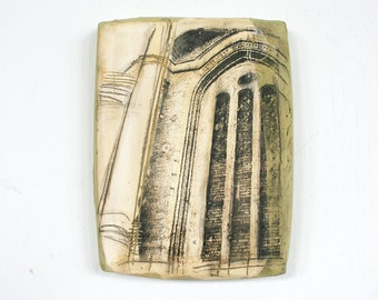 Decorative ceramic tile with architectural motif. European cathedral, church ruins, image transfer, hand painted, wall hanging, OOAK