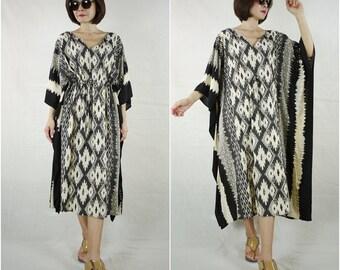 IKAT Print Light Nano Rayon Oversize Kaftan Women Top Tunic Dress S M L XL 1X 2X 3X 4X