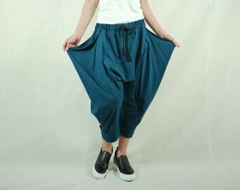 Funky Harem Boho Capri Drop Crotch Dark Teal Green Cotton Jersey Pants With Flap Side And Elastic Waist & 2 Pockets