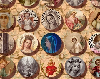 Holy Card one inch circles digital collage sheet Catholic Saint Jesus virgin Mary Religious Art printable  Instant Download n101