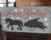 "Season's Greetings/Christmas Decor/Christmas Sign/Ornament/Home Decor/Wood Sign/Holiday Decor/Country Decor Decor/Rustic/Primitive/10"" x 16"""