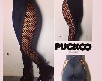 High Waisted, CELINE, Black Leggings, Lycra, Spandex, Leggings, Large Fishnet, side panels, Fishnet
