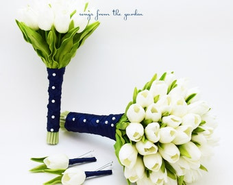 Real Touch Tulips Bridal & Bridesmaid Bouquet White Navy Blue Ribbon Tulip Wedding Flower Package Silk Artificial Tulips