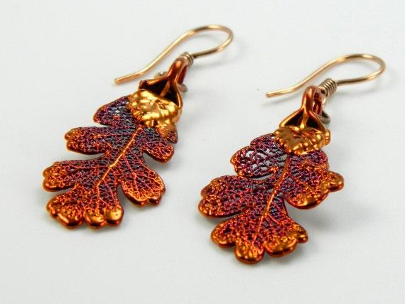 Iridescent Copper Oak Leaf Earrings, Real Leaf Earrings