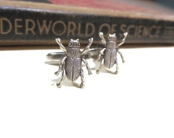 Antiqued Silver Beetle Cuff Links - Egyptian Art Deco Art Nouveau - Soldered Cufflinks