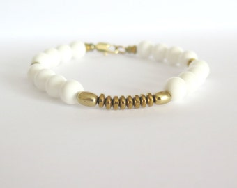 White Jade Bracelet with Gold Hematite / Reiki Infused Stress Bracelet / Healing Bracelet / Protection Harmony Balance Luck