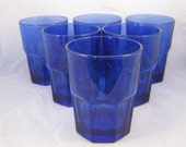 Vintage Cobalt Blue Libbey Crisa Gibraltar On The Rocks Drinking Glasses(6)
