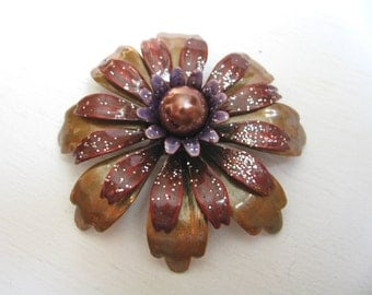 Vintage dimensional copper and tan layered flower pin flower brooch