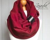 BURGUNDY Infinity Scarf with leather cuff, tube scarf with cuff,  infinity scarves, maroon scarf, hooded  scarf, scarf with strap ZOJANKA